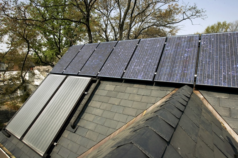 Solar panels are seen on the roof of an Arlington, Va. house. Taxpayers can claim up to a $500 tax crediton energy-savinghome improvements.