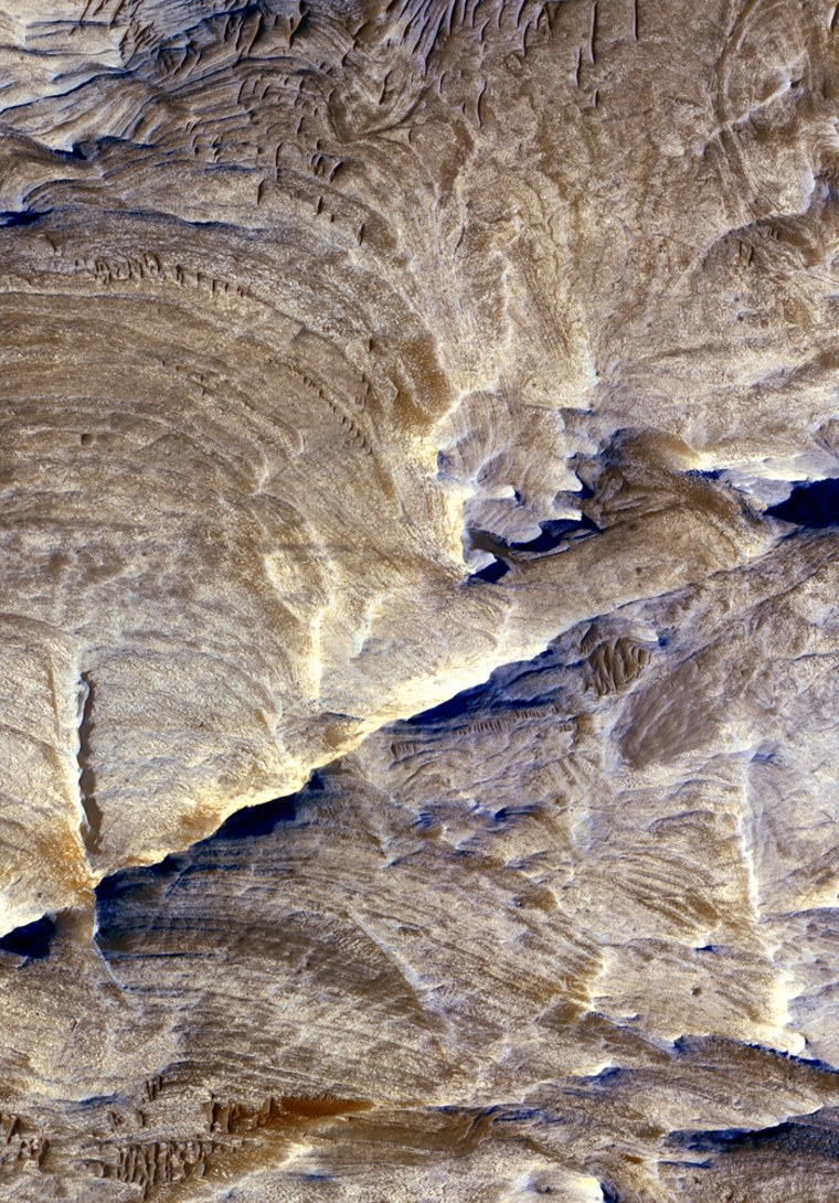"""Ridges of light-toned bedrock known as """"halos"""" remain behind as the surrounding bedrock erodes away around linear fractures in a Martian canyon known as Candor Chasma. Such features offer clues about past fluid flow and geochemical conditions within the subsurface. This image is about a half-mile (1 kilometer) across."""