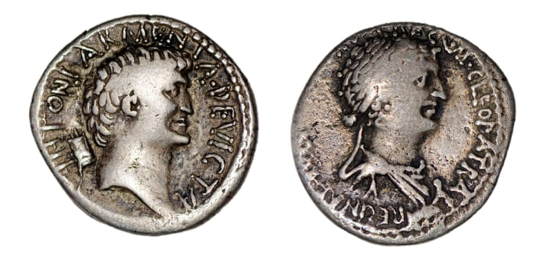 Academics at the University of Newcastle say the queen of Egypt (right), long celebrated for her great beauty, was actually a sharp-nosed, thin-lipped woman. In short, a fair match for the hook-nosed, thick-necked Mark Antony (left).
