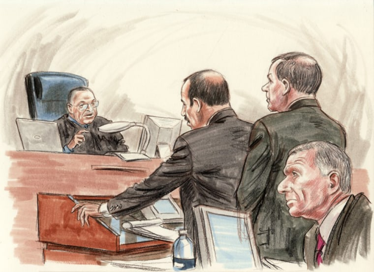 """Libby attorney Ted Wells argued vigorously Wednesday to Judge Reggie Walton to bring Tim Russert back on the witness stand; """"Scooter"""" Libby is in right foreground."""
