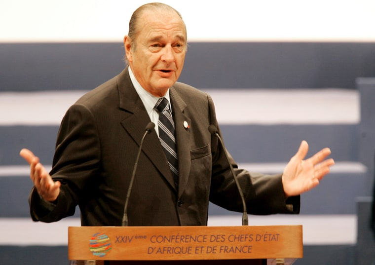 French President Jacques Chirac delivers