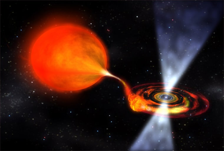This artist's impression shows a spinning neutron star (pulsar) approximately six miles in diameter. It siphons material from the larger companion, and when enough accumulates, it triggers a thermonuclear explosion. Astronomers watch these emissions to calculate the neutron star's rotation speed.