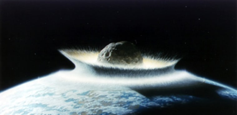 An artist's conception shows a massive asteroid slamming into Earth. Any asteroid threatening Earth is likely to be smaller, calling for subtle methods to deflect rather than destroy the space rock.