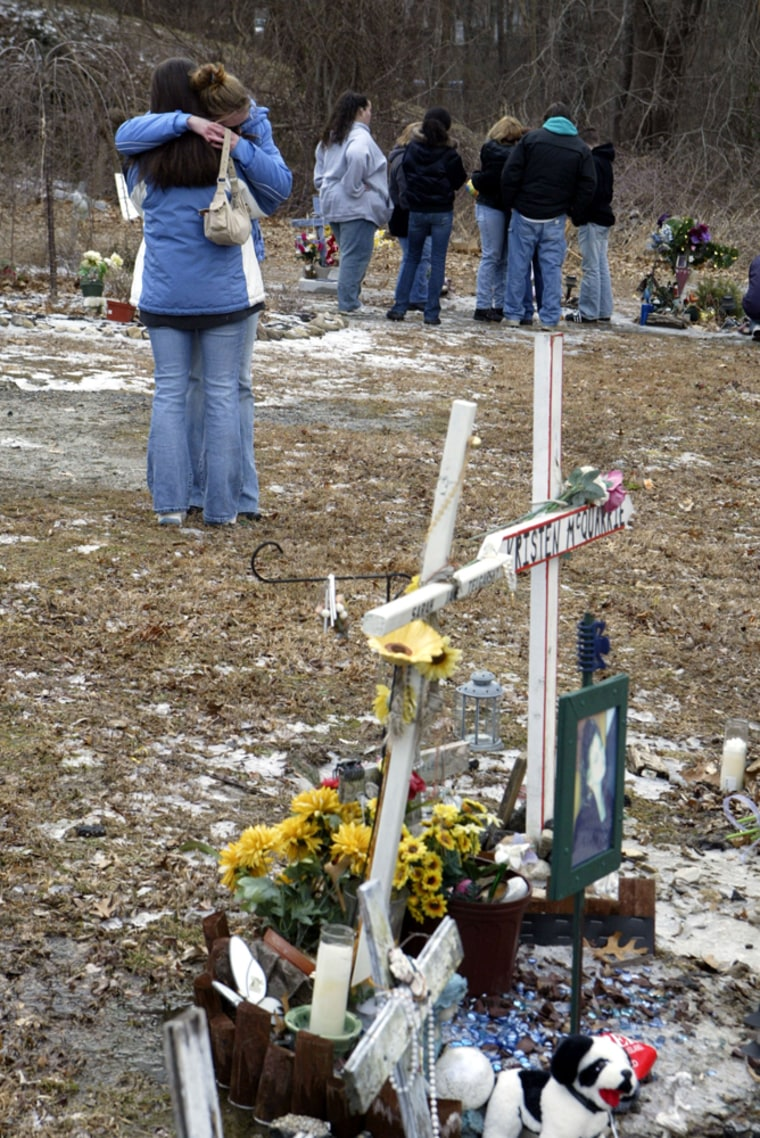 Family and friends who lost family members in the 2003 Station nightclub fire in West Warwick, R.I. gather Sunday at the site to mark the fourth anniversary of the deadly blaze. One hundred people died.