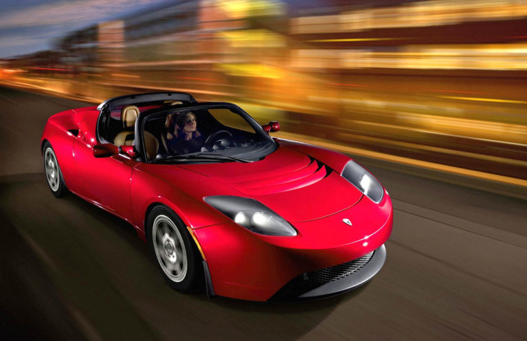 The sleek Tesla Roadster has a battery pack that can propel the car 250 miles between charges.