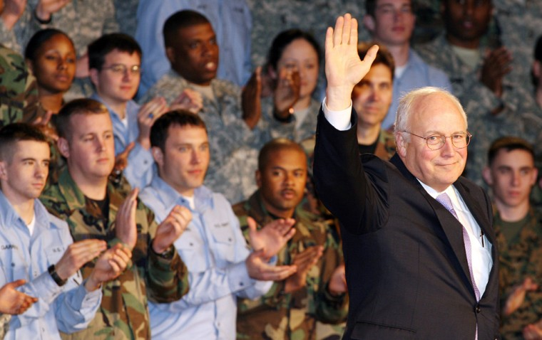 US Vice President Dick Cheney (R) is wel