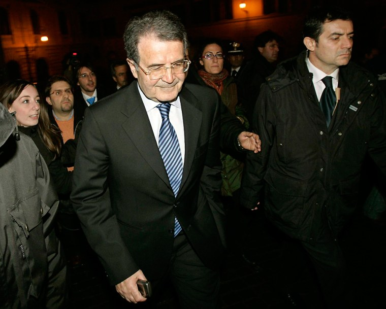 Italy's Prime Minister Romano Prodi walks from his offices after resigning in Rome