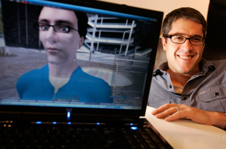 Millions of Us CEO Reuben Steiger, seen with an animated image of himself, helps companies gain a foothold in the popular online universe Second Life. Online visitors can sample products at virtual attractions such as car dealerships and malls.