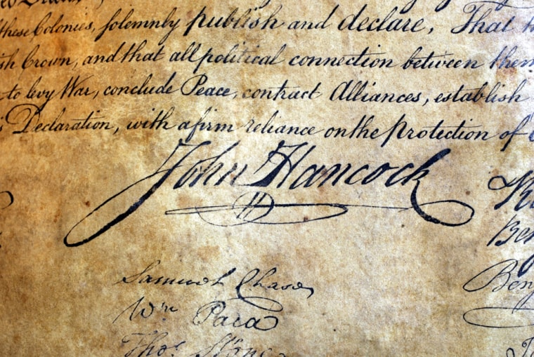 A close-up view shows John Hancock's signature on the1823 copy of the Declaration of Independence sold Thursday for nearly $500,000.