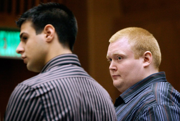 Defendants Shaun Harrison, right and Saverio Mondelli, appear in a Los Angeles courtroomFeb. 26, 2007. The New York computer programmers have been accused of plotting to extort money from the operators of MySpace.com.