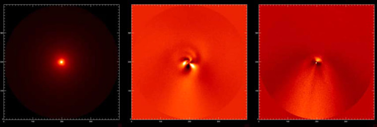 Left: a raw image of Comet McNaught. Middle: image processed to reveal spiral jets of gas from the nucleus. Right: A similarly processed image of the dust in the inner coma, showing a sunward plume and the dust being swept back into the tail. The tail direction is roughly downward.
