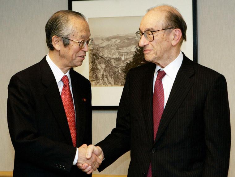 Former US Federal Reserve chairman Greenspan meets Japan's Finance Minister Koji in Washington