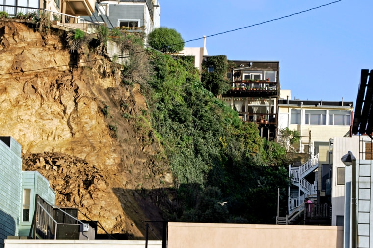 A landslide overnight in San Francisco damaged an apartment building and left other structures in precarious situations.