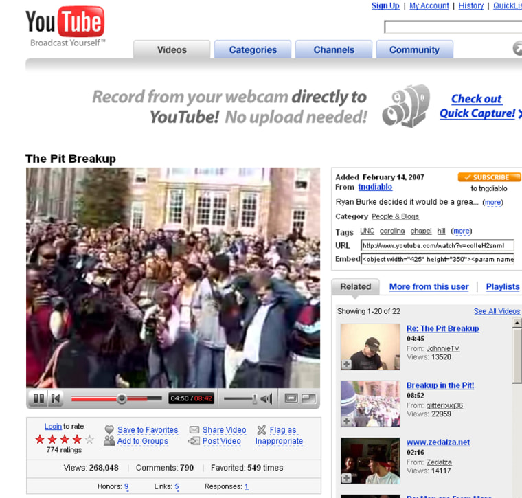 A screen grab of the alleged Valentine's Day breakup of two UNC students as posted on YouTube.