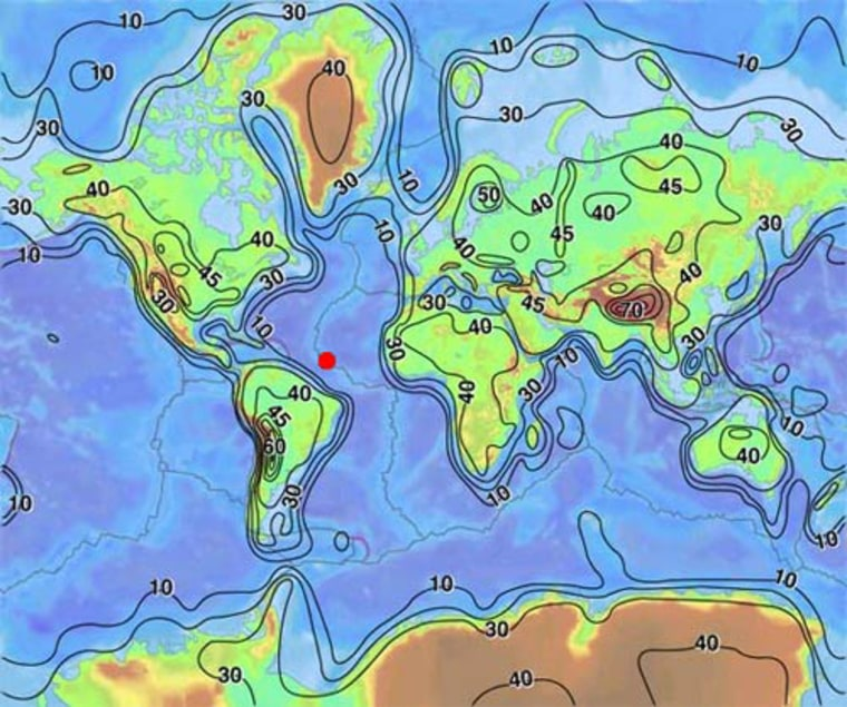 A map showing the average crust thickness on the Earth. The red dot marks the location of the exposed mantle that scientists aboard the RSS James Cook will study.