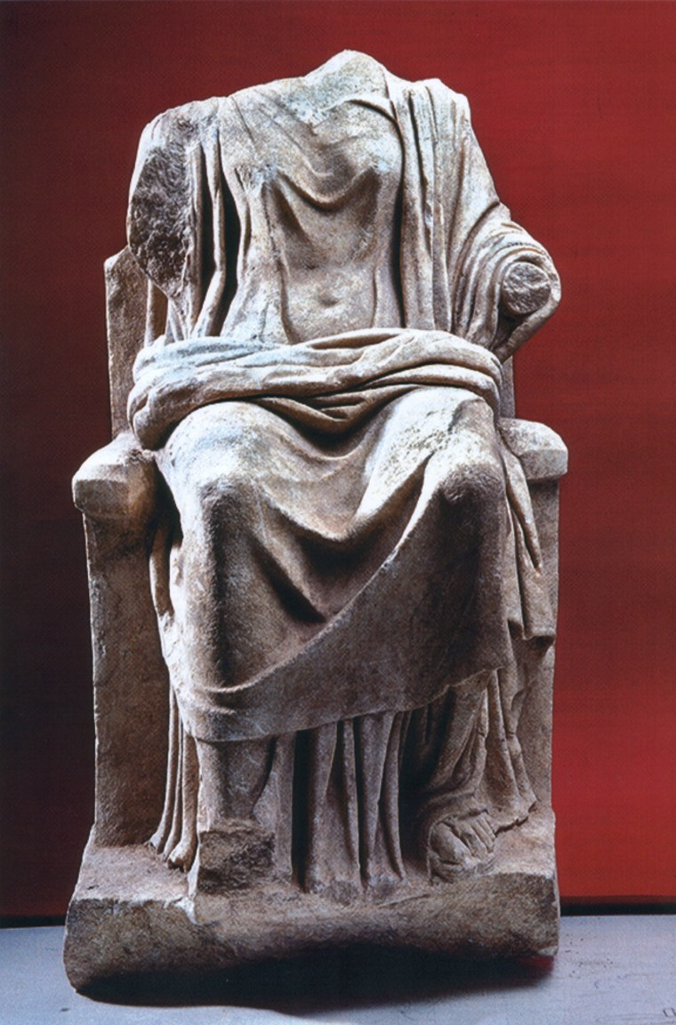 The headless,marble statue of the ancient Greek goddess Hera dates back to the 2nd century B.C. and was discovered last year during excavations in the town of Dion, near Mt Olympus in northern Greece.