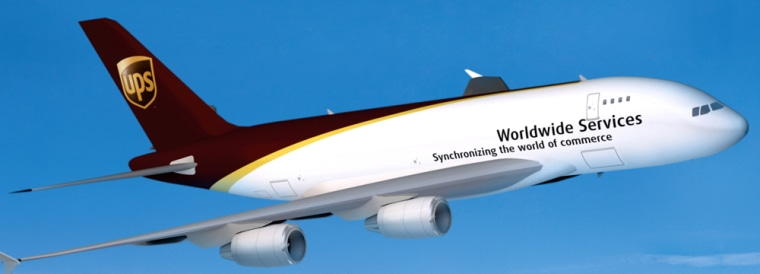 This artist rendering shows an Airbus 380 painted in UPS' colors. UPS said Friday it will cancel its order for 10 Airbus A380 freighters, following delivery delays.