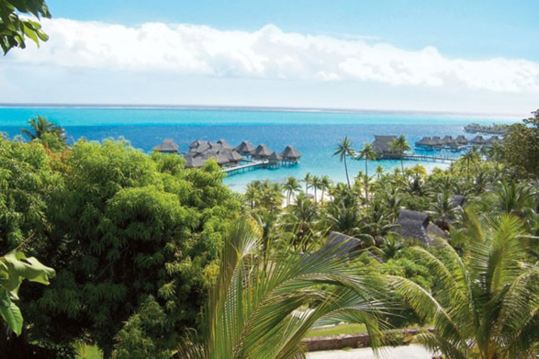 The overwater bungalows at Bora Bora Lagoon Resort offer guests an infinite vista of the island's blue-green water.