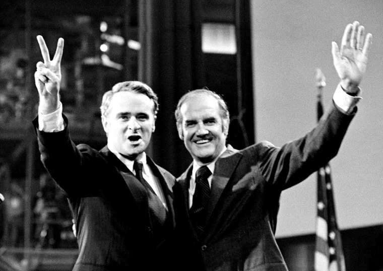 Sen. Thomas F. Eagleton, left, and Sen. George S. McGovern, at the time a presidential candidate,appear in Miami Beach, Fla., in July 1972.