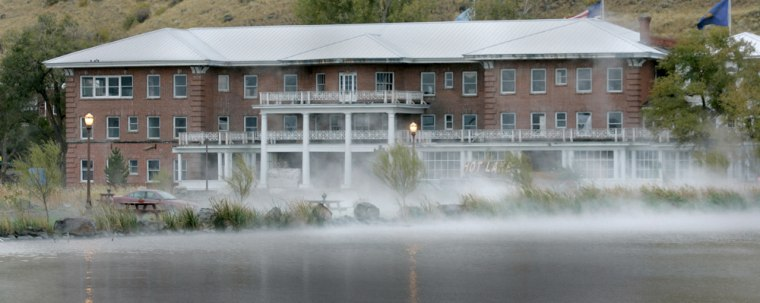 Steam is seen on the sulfurous lake at Hot Lake Springs, in La Grande, Ore. Hot Lake Springs was once a hotel, sanitarium, spa and among the early teaching hospitals, a self-contained city with its own bank and post office.