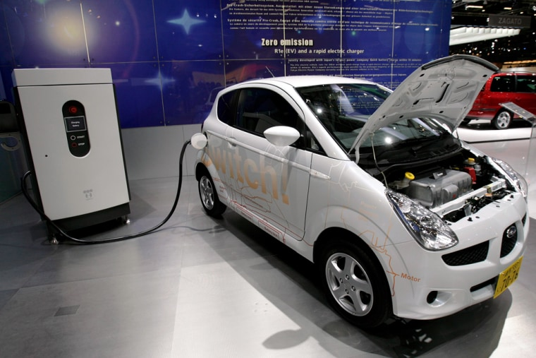 The low emission vehicles shown at the Geneva car show this week include the Subaru R1e electric vehicle.