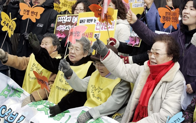 """Former South Korean """"comfort women,"""" who were forced into sexual servitude by the JapaneseArmy during World War II, attend an anti-Japan rally in in Seoul, South Korea, on Wednesday."""
