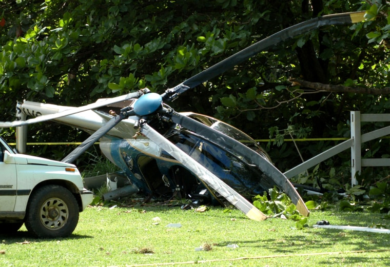 A tour helicopter crashed into trees inHanea, Hawaii, on Sunday. It was thesecond fatal helicopter accident on the island of Kauai in four days.