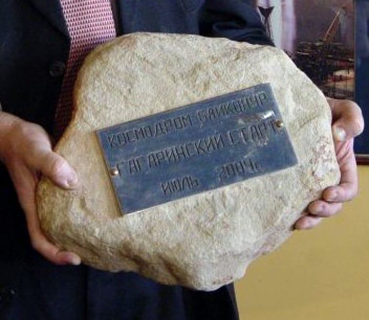 A stone taken from the first Russian space launch pad at Baykonur in now-independent Kazakhstan in central Asia commorates the launching of Russian Cosmonaut Yuri Gagarin on April 12, 1961.