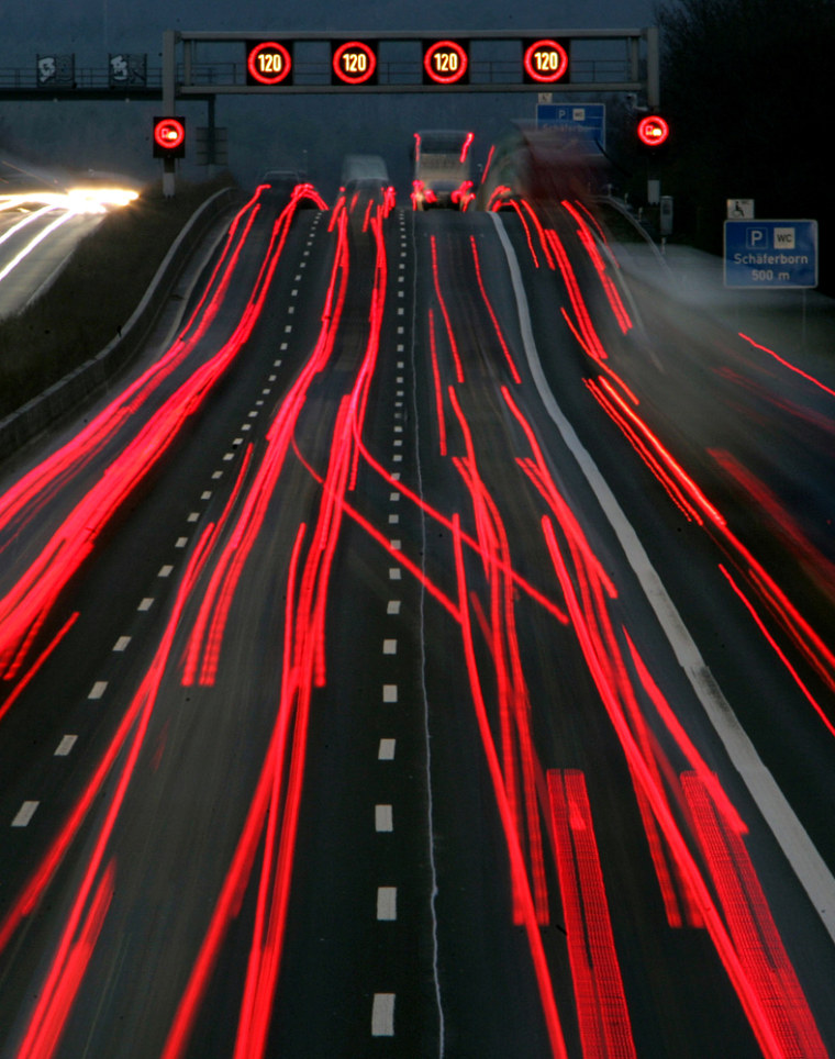 Taillights from vehicles traveling at night near Frankfurt on Dec. 12 are captured in this time-lapse photo.