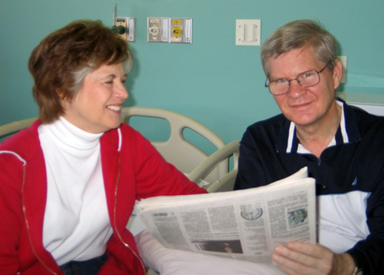 Sen. Tim Johnson, D-S.D., (right), seen with his wife, Barbara, is expected to take several months to recover from surgery, following a brain hemorrhage.