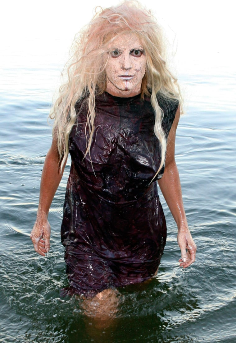 Beth Paganoni models a cave woman dress grown in Perth