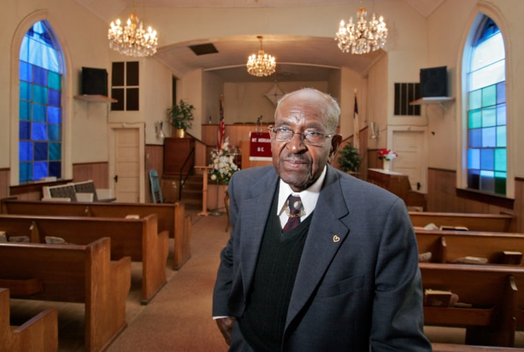"""Rev. Simmie Harvey,shown in his church, haslet his homeowner policy lapse and left his house in the hands of a higher power. Facing soaring premiums, a growing number of homeowners and businesses in Louisiana and Mississippi are """"going bare,"""" or dropping their coverage altogether."""