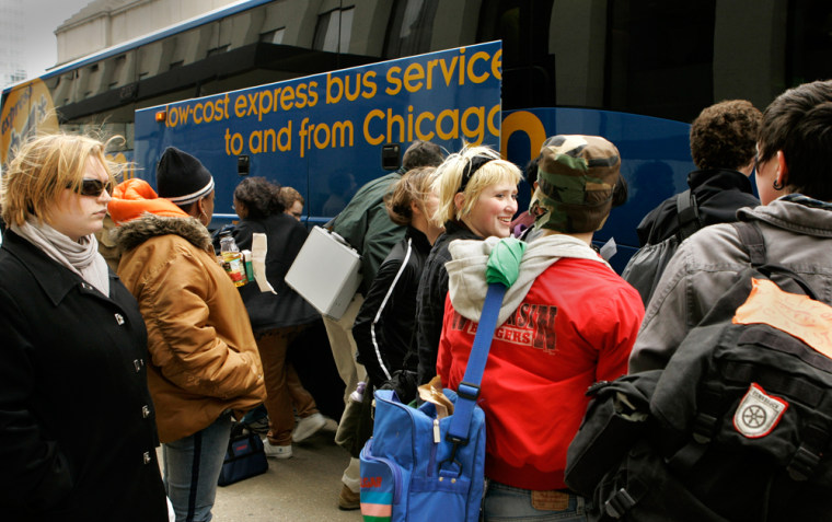 Passengers board a Megabus.com coach departing Chicago earlier this month.