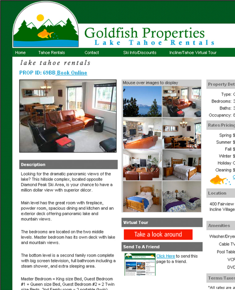 This screen shot of Goldfish Properties' Web site shows one of the vacation rentals they offer with different views and a virtual tours.