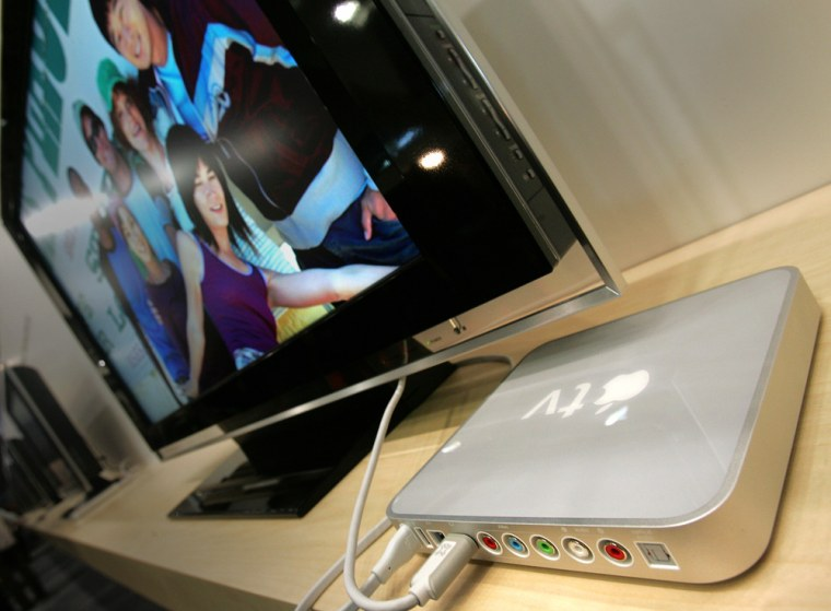 Apple's new Apple TV is on display at th