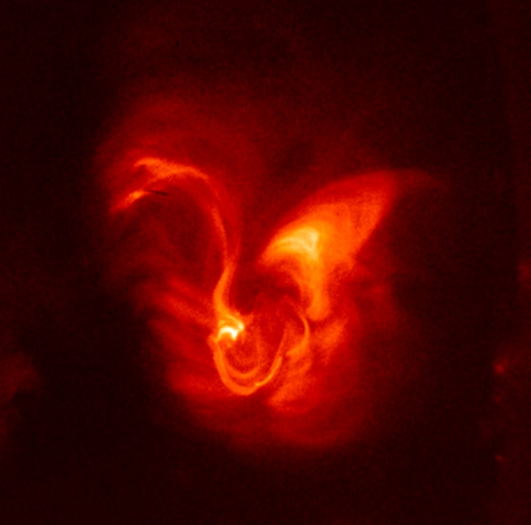 Taken with Hinode's X-ray telescope, this image shows details of magnetic field structures along an active region of the sun.