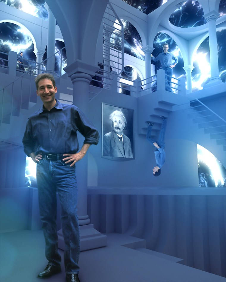 """Columbia physicist Brian Greene inhabits a multiple-perspective landscape modeled after M.C. Escher's artwork in a scene from """"The Elegant Universe,"""" a public-TVdocumentary based on Greene's book."""