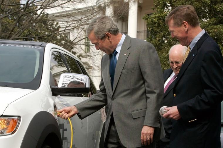 Bush Participates In Demostration Of Alternative Fuel Vehicles