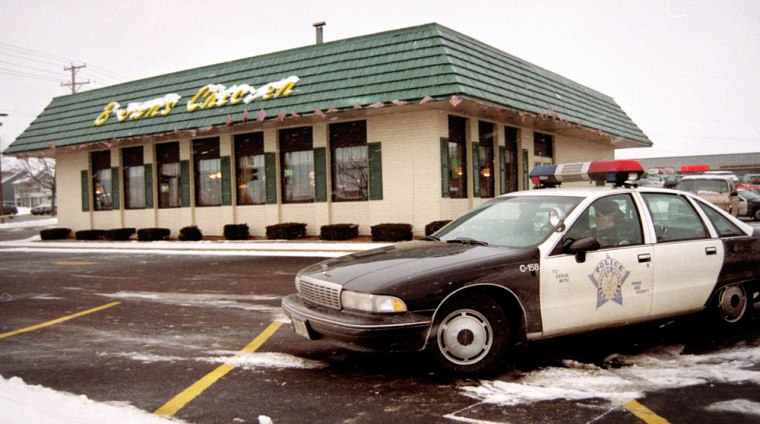 Seven bodies, all shot and some stabbed, were found inside Brown's Chicken & Pasta in Palatine, Ill., in January 1993.