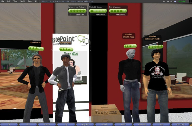 """This is an undated screen grab provided by RatePoint Inc., a software startup that created a five-star rating system for characters in the online virtual world """"Second Life."""" The software will be available as a free download starting next week."""