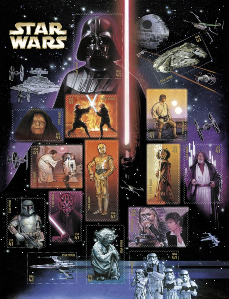The U.S. Postal Service will release the Star Wars stamps, shown here on a sheet of all 15, on May 25.