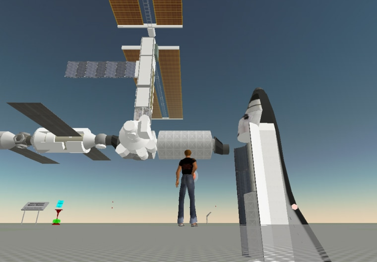 """A virtual space shuttle and international space station have been built to scale for Second Life avatars toexplore in """"low Earth orbit."""""""