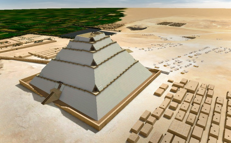 This 3-D computer image illustrates French architect Jean-Pierre Houdin's theoryon how the Great Pyramid could have been constructedusing a corkscrew-shaped inner ramp.
