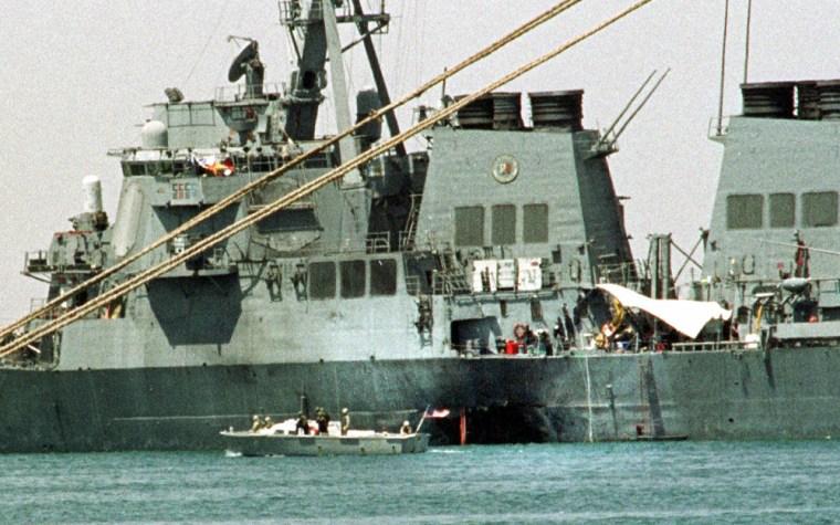 Seventeen U.S. sailors were killed in October 2000 when an explosives-laden boat rammed into the USS Cole in the harbor of Aden, Yemen.