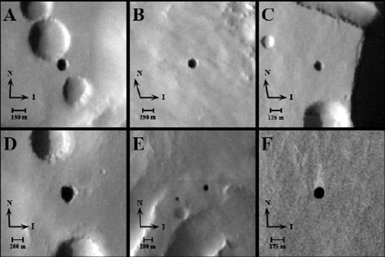 """A THEMIS image showing entrances to possible Martian caves, dubbed the """"seven sisters."""" Clockwise from upper-left: Dena, Chloe, Wendy, Annie, Abbey, Nikki and Jeanne. Arrows signify direction of solar illumination (I) and direction of North (N)."""