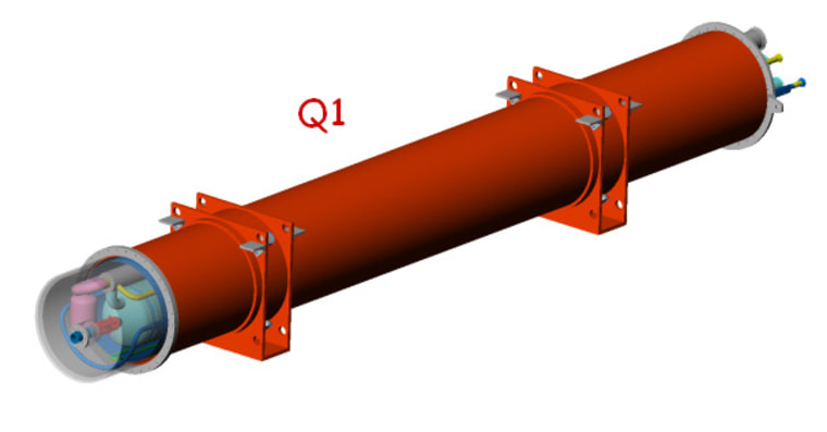This schematic shows the sheath for a quadrupole magnet at the Large Hadron Collider, with the innards visible in a partial cutaway. Such a magnet broke on March 27 during a test.
