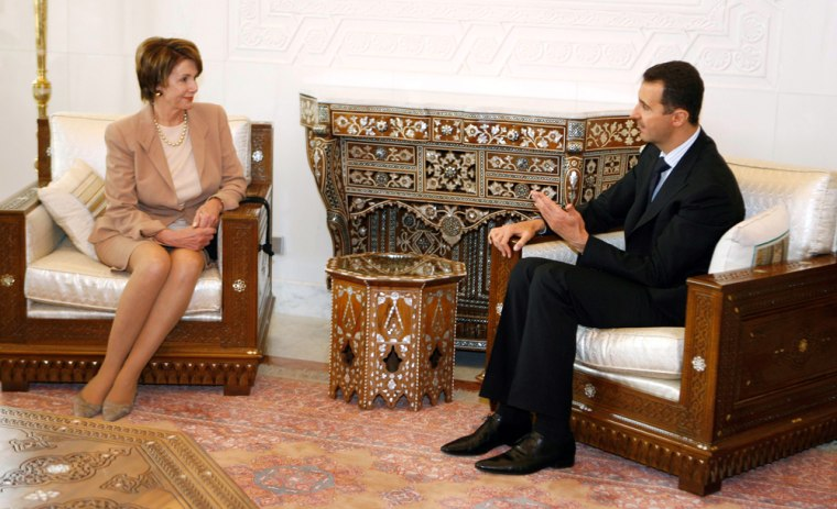 Syrian President al-Assad meets with US House Speaker Pelosi in Damascus