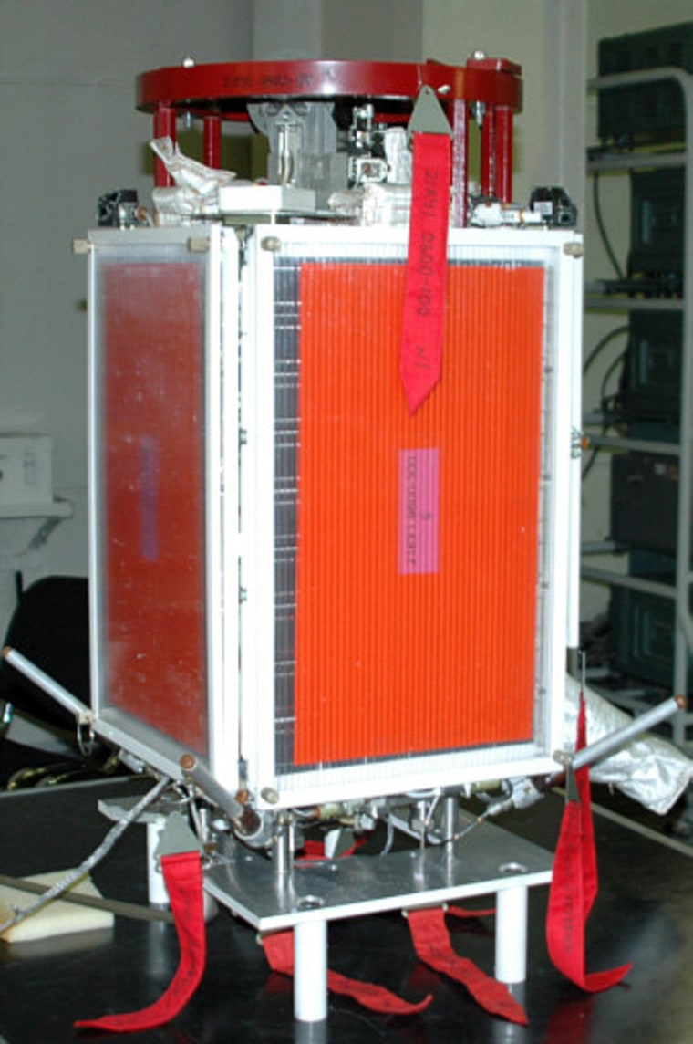 The Universitetsky-Tatiana satellite, shown here before its launch in 2005, is a small spacecraft designed to monitor space weather.