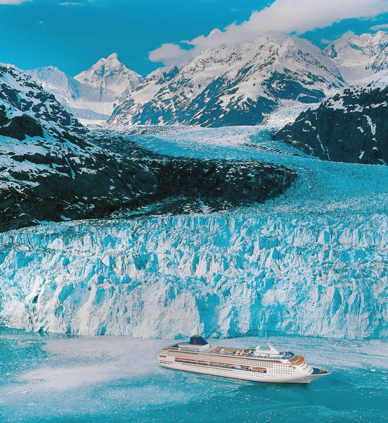 The Norwegian Sky cruise ship sails in Alaska.