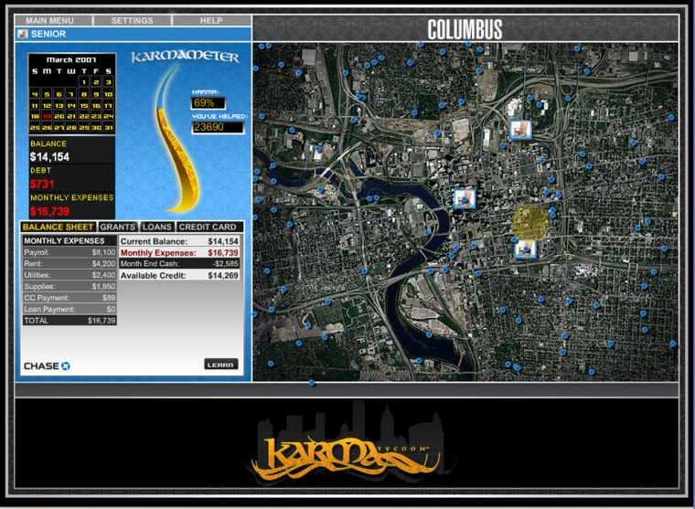 The online game Karma Tycoonallows players to create a nonprofit businessand choose where it will operate.